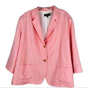 Talbots peach pink linen button pocket blazer